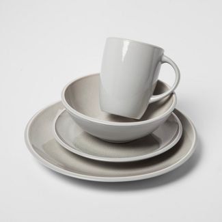 16pc Stoneware Portel Dinnerware Set Gray - Project 62™