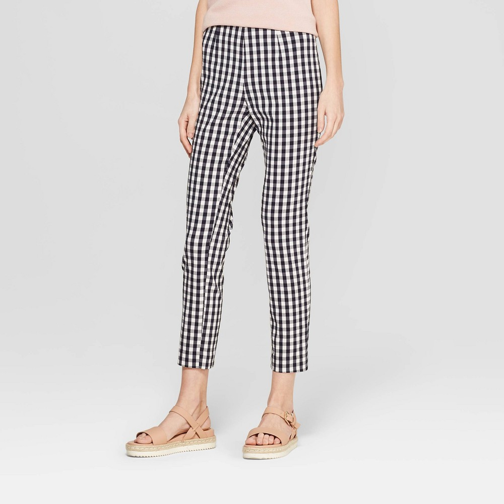 Women's Gingham High-Rise Skinny Ankle Pants - A New Day Navy/White (Blue/White) 2