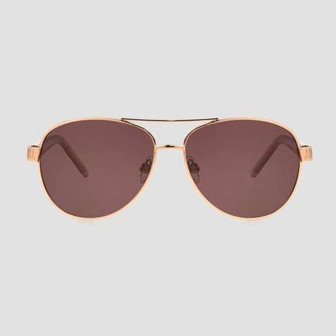 Women's Aviator Sunglasses with Polarized Lenses - A New Day™ Rose Gold - image 1 of 2