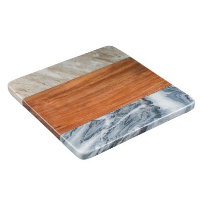 "8"" Sheesham Wood and Marble Square Trivet - Thirstystone"