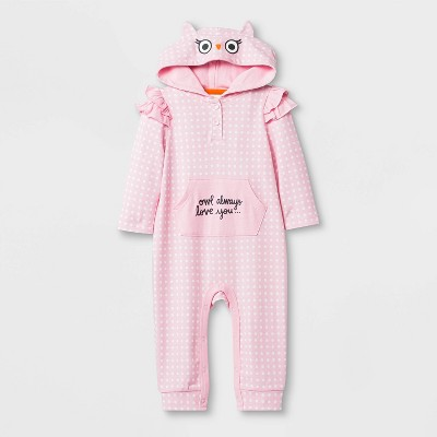 Baby Girls' Long Sleeve Polka Dots Owl Romper - Cat & Jack™ Pink 3-6M
