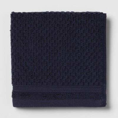Performance Washcloth Navy Blue Texture - Threshold™