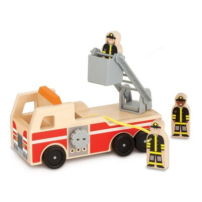 Melissa & Doug Wooden Fire Truck With 3 Firefighter Play Figures