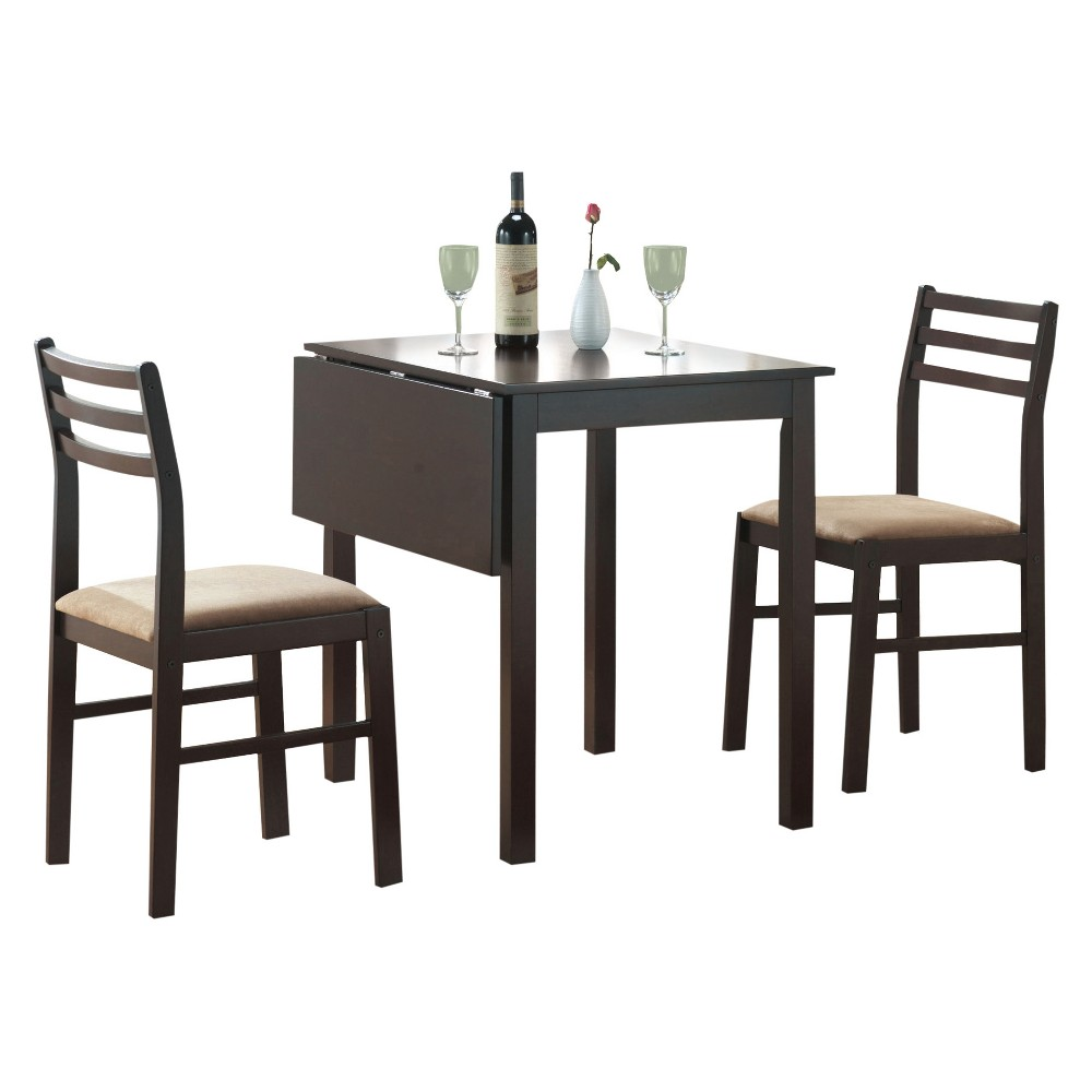 Dining Set - 3 Piece - Drop Leaf Table - Cappuccino - EveryRoom