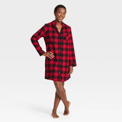 Women's Holiday Buffalo Check Plaid Flannel Matching Family Pajama Nightgown - Wondershop™ Red