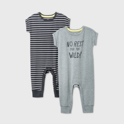 Baby Boys' 2pk 'No Rest For The Wild' Short Sleeve Romper - Cat & Jack™ Gray