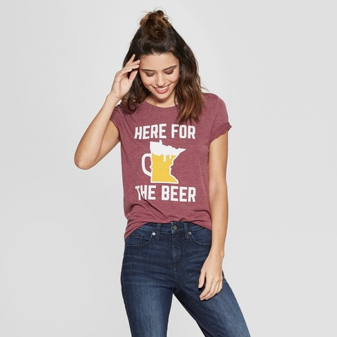 agreatvarietyofmodels sale online top design Women's Short Sleeve Here for the Beer T-Shirt - Awake Burgundy