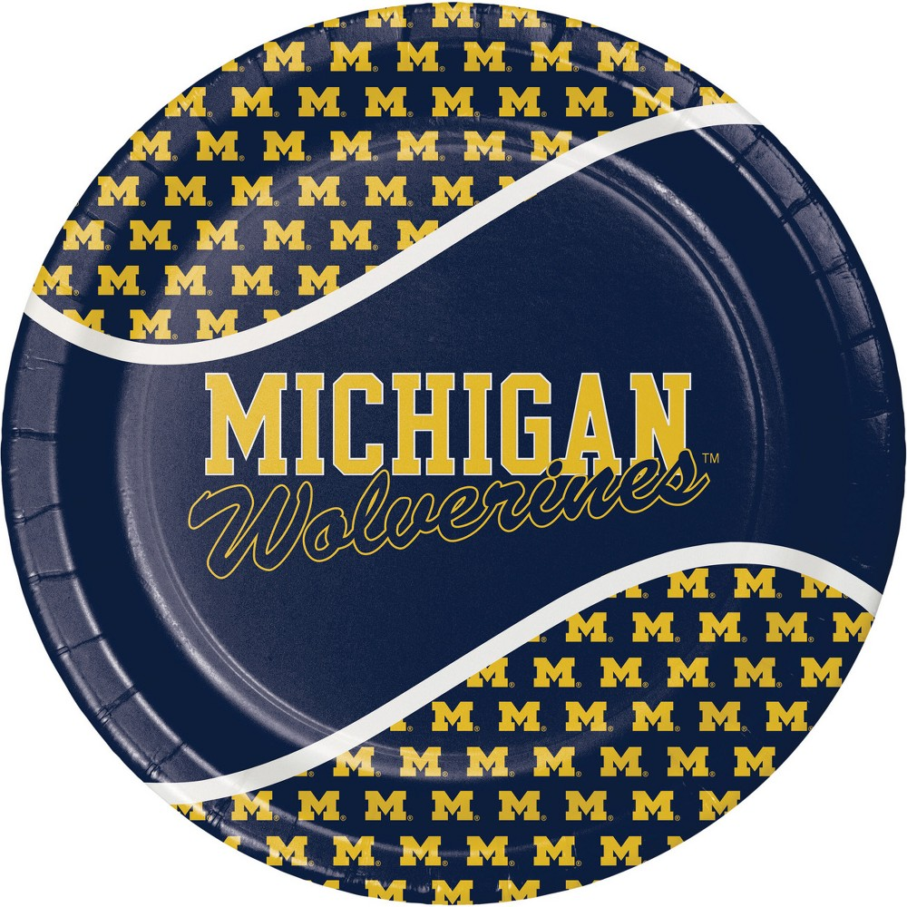 Image of 24ct Michigan Wolverines Paper Plates Blue
