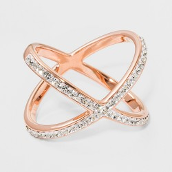 Rose Plated Large X Crystal Ring - A New Day™ Rose Gold/Clear