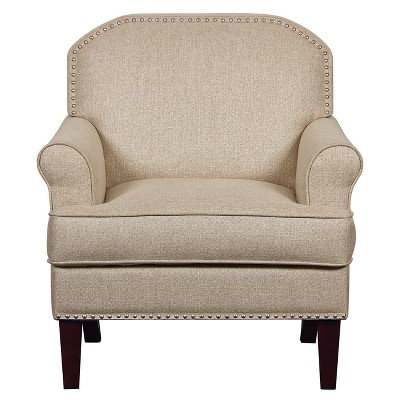 Roll Arm Accent Chair With Nail Head Trim In Linen   Beige   Pulaski :  Target