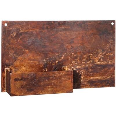 Evergreen Rust Dunes Rectangular Metal Wall Planter