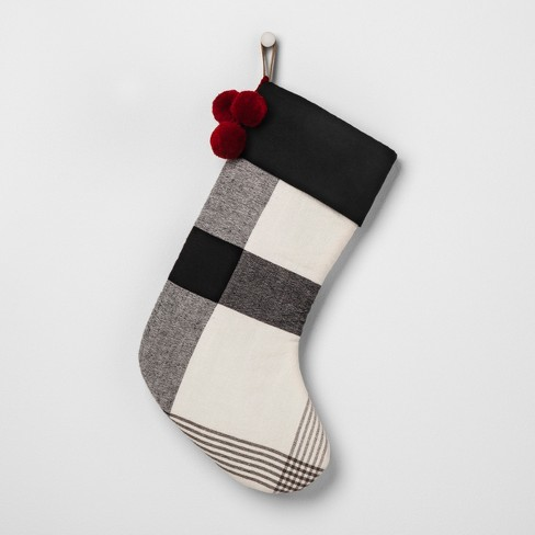 holiday stocking plaid white black hearth hand with