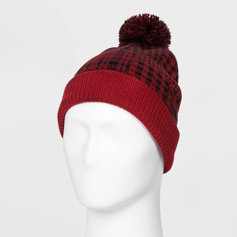 Men's Plaid Beanie - Original Use™ Red One Size - image 1 of 1