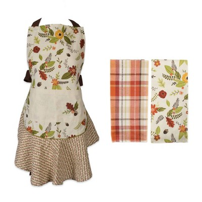 Fall In Love Ruffle Apron & Kitchen Towels Set - Design Imports