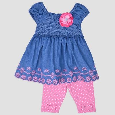 Baby Girls' Denim Top & Leggings Set Nate & Annee™ Blue/Pink 6-9M