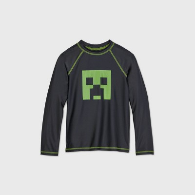 Boys' Minecraft Long Sleeve Rash Guard Swim Shirt - Black