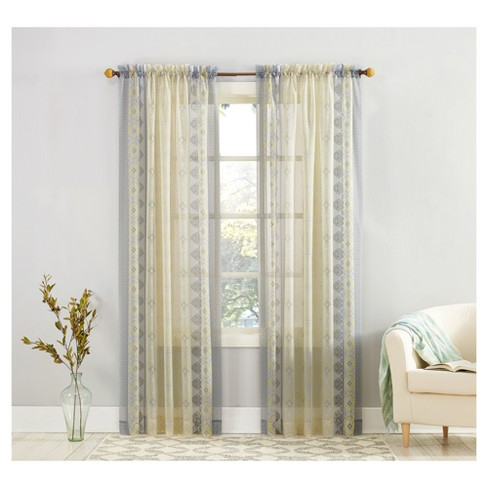 Tosha Medallion Print Sheer Voile Curtain Panel Yellow - No. 918 - image 1 of 3