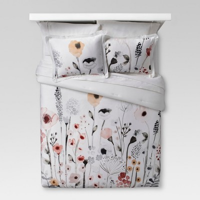 White Floral Watercolor Comforter Set (Full/Queen) 3pc - Threshold™