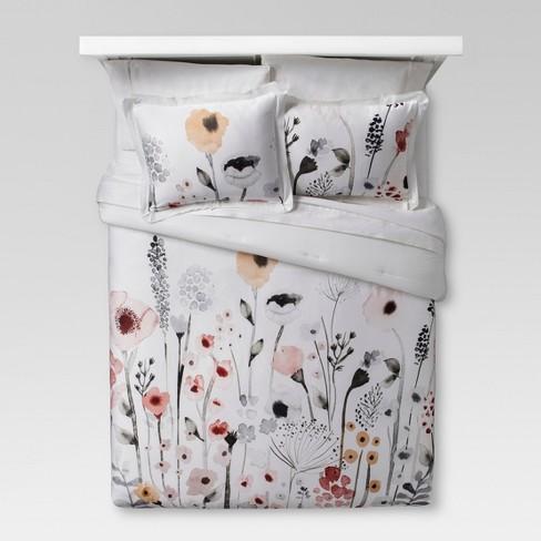 White Watercolor Floral Comforter Amp Sham Set Threshold
