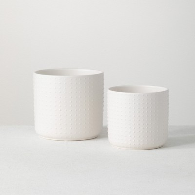 "Sullivans Set of 2 Ceramic Planter Vases 6""H & 5""H White"