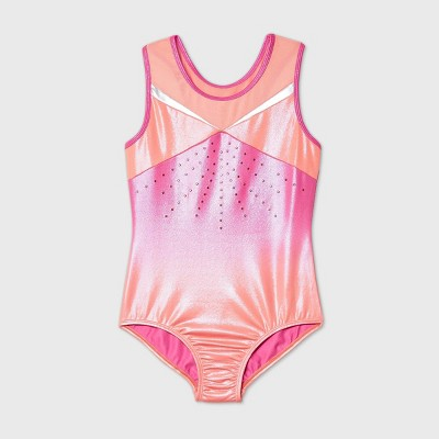 Girls' Ombre Gymnastics Leotard - More Than Magic™ Orange/Pink