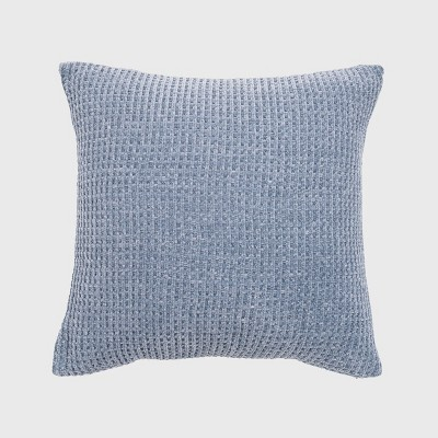 """20""""x20"""" Oversize Chenille Shiny Waffle Knit Square Throw Pillow Chambray Blue - Evergrace"""