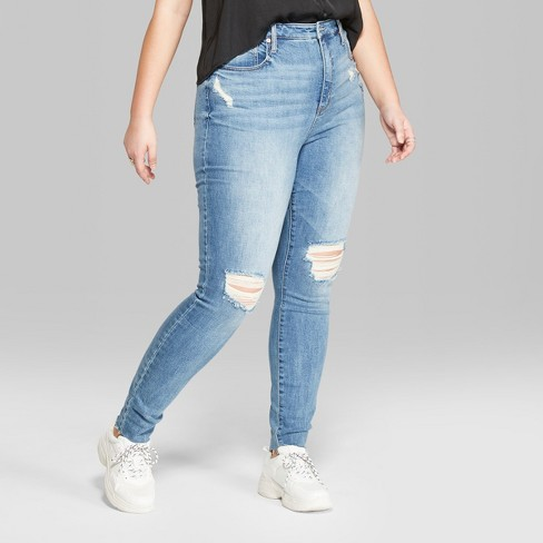 3ae89af825 Women s Plus Size High-Rise Destructed Skinny Jeans - Wild Fable™ Medium  Wash