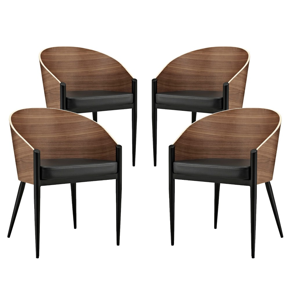 Cooper Dining Chairs Set of 4 Walnut - Modway, Brown