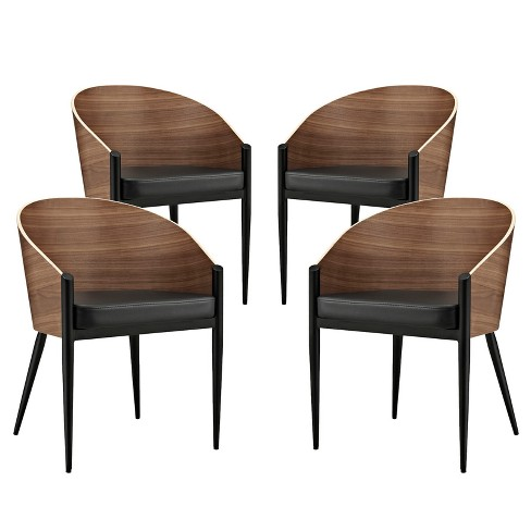 Set of 4 Cooper Dining Chairs Walnut - Modway - image 1 of 4