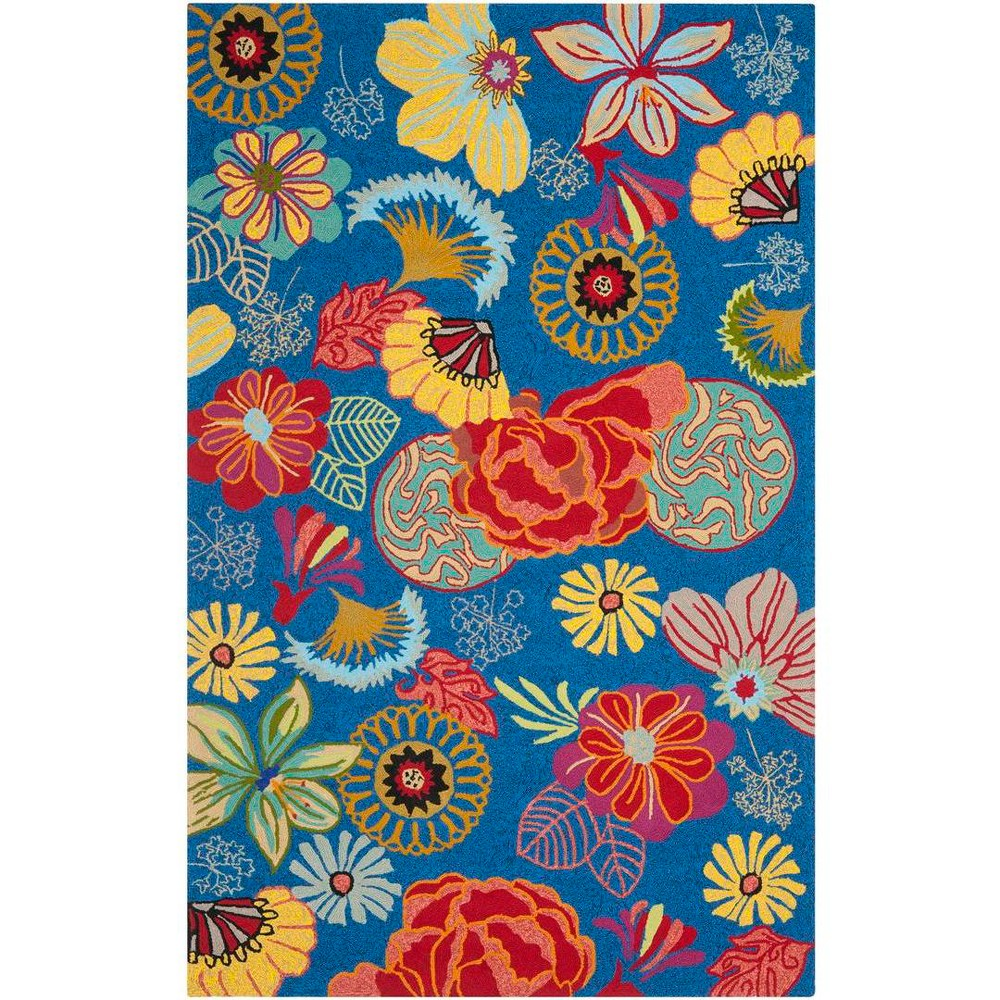 8'X10' Hooked Floral Area Rug Blue/Red - Safavieh
