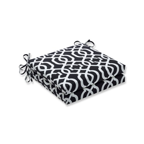 New Geo 2pc Indoor Outdoor White Squared Corners Seat Cushion Black White Pillow Perfect Target