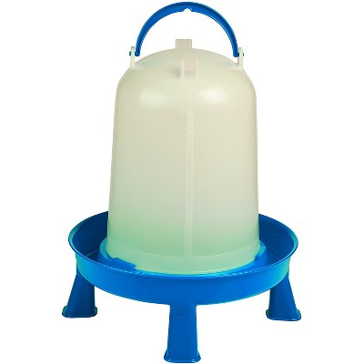 Little Giant 2.5 Gallon Poultry Chicken or Bird Water Dispenser Container with Water Ring, Carrying Handle, and Detachable Legs, Blue