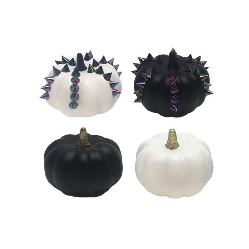 Mini Halloween Decorative Pumpkins Black/White 4pk - Hyde and Eek! Boutique™ - image 1 of 1