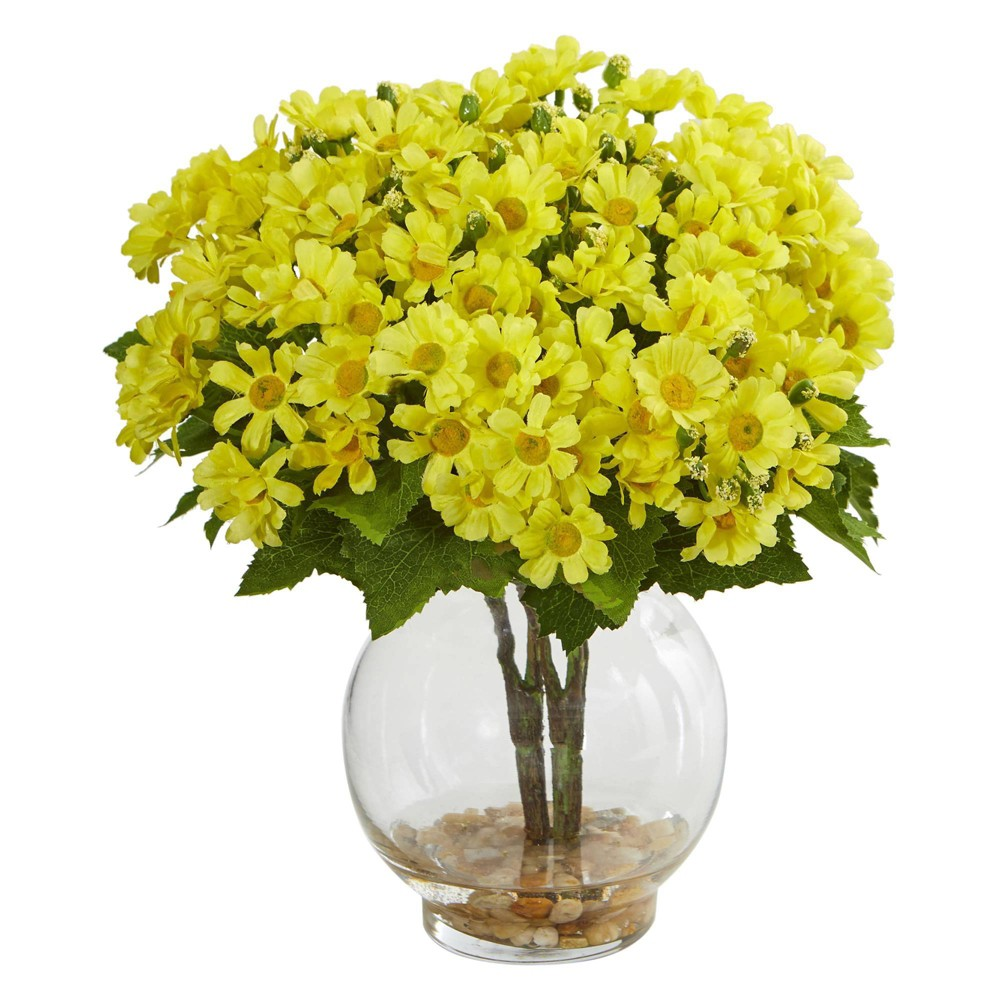 "Image of ""10"""" x 7"""" Artificial Daisy Arrangement in Glass Vase Yellow - Nearly Natural"""