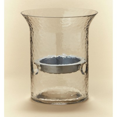 Lakeside Floating Tray Glass Pillar Candle Holder - Lighted Home Accent