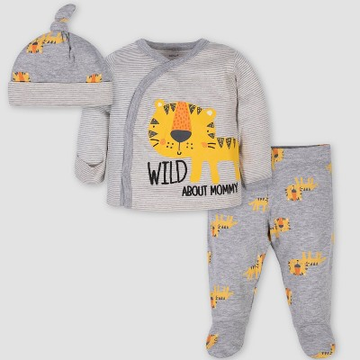 Gerber Baby Girls' 3pc Side Snap Tiger 'Wild About Mommy' Shirt and Footed Pants with Cap - Gray 0-3M