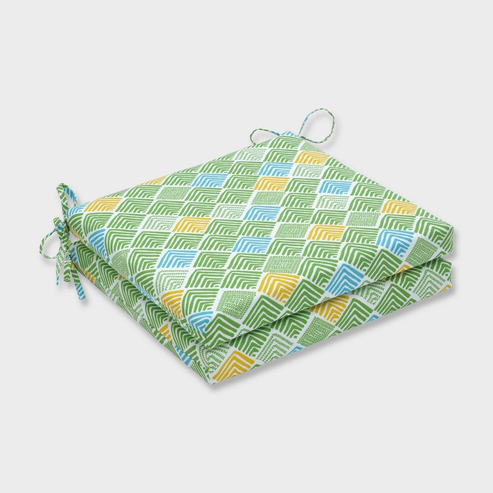 """Image of """"20"""""""" x 20"""""""" x 3"""""""" 2pk Belk Seaglass Squared Corners Outdoor Seat Cushions Green - Pillow Perfect"""""""