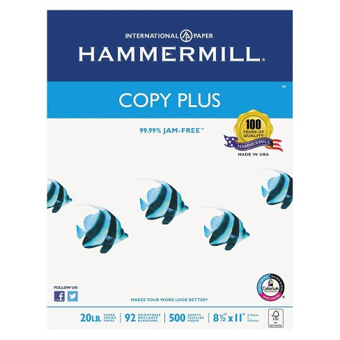 Hammermill® Copy Plus Paper, 92 Brightness, 20 lb - White (5000 Per Carton) - image 1 of 5