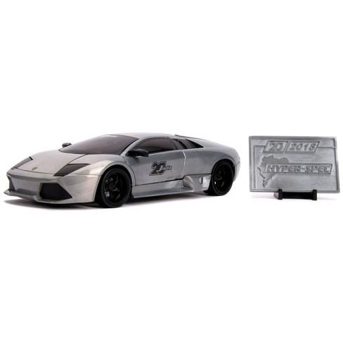 Jada Toys 20th Anniversary HyperSpec Lamborghini Murcielago Die-Cast Vehicle with Mosaic Die-Cast Tile 1:24 Scale Brushed Raw Metal - image 1 of 4