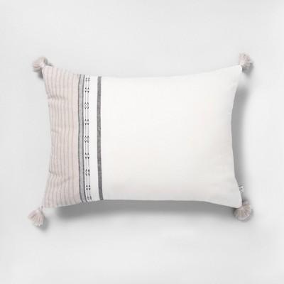 14x20 Ombré Stripe Throw Pillow Sour Cream / Gray - Hearth & Hand™ with Magnolia