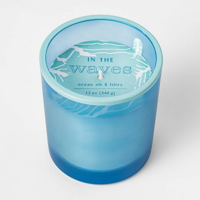 12oz Painted Tapered Glass In The Waves Candle - Opalhouse™