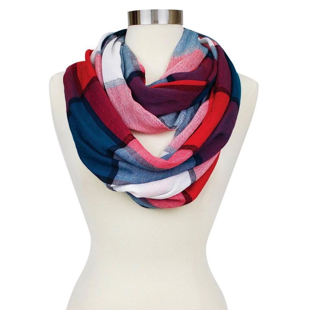 Women's Infinity Fashion Scarf Teal (Blue) Plaid - Sylvia Alexander