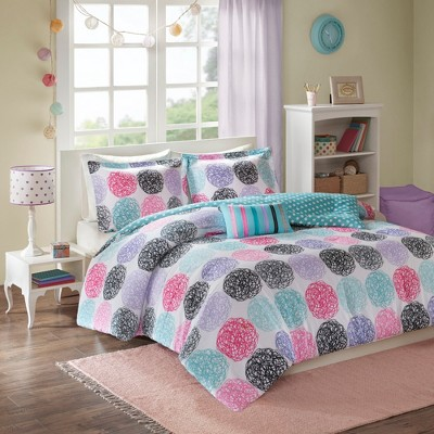 Purple Brittany Reversible Comforter Set Full/Queen 4pc-