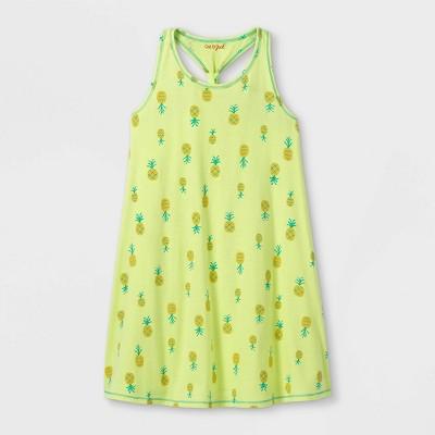 Girls' Printed Sleeveless Knit Dress - Cat & Jack™ Lemon Yellow