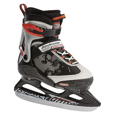 Rollerblade Bladerunner Micro Ice Adjustable Junior Padded Ice Skates with Rust Resistant Stainless Steel Blades, Size 12J-2, Black/Red