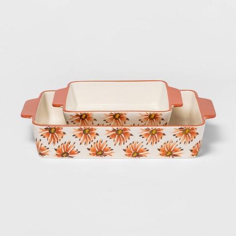 2pc Stoneware Flower Bakeware Set Coral - Threshold™ - image 1 of 1