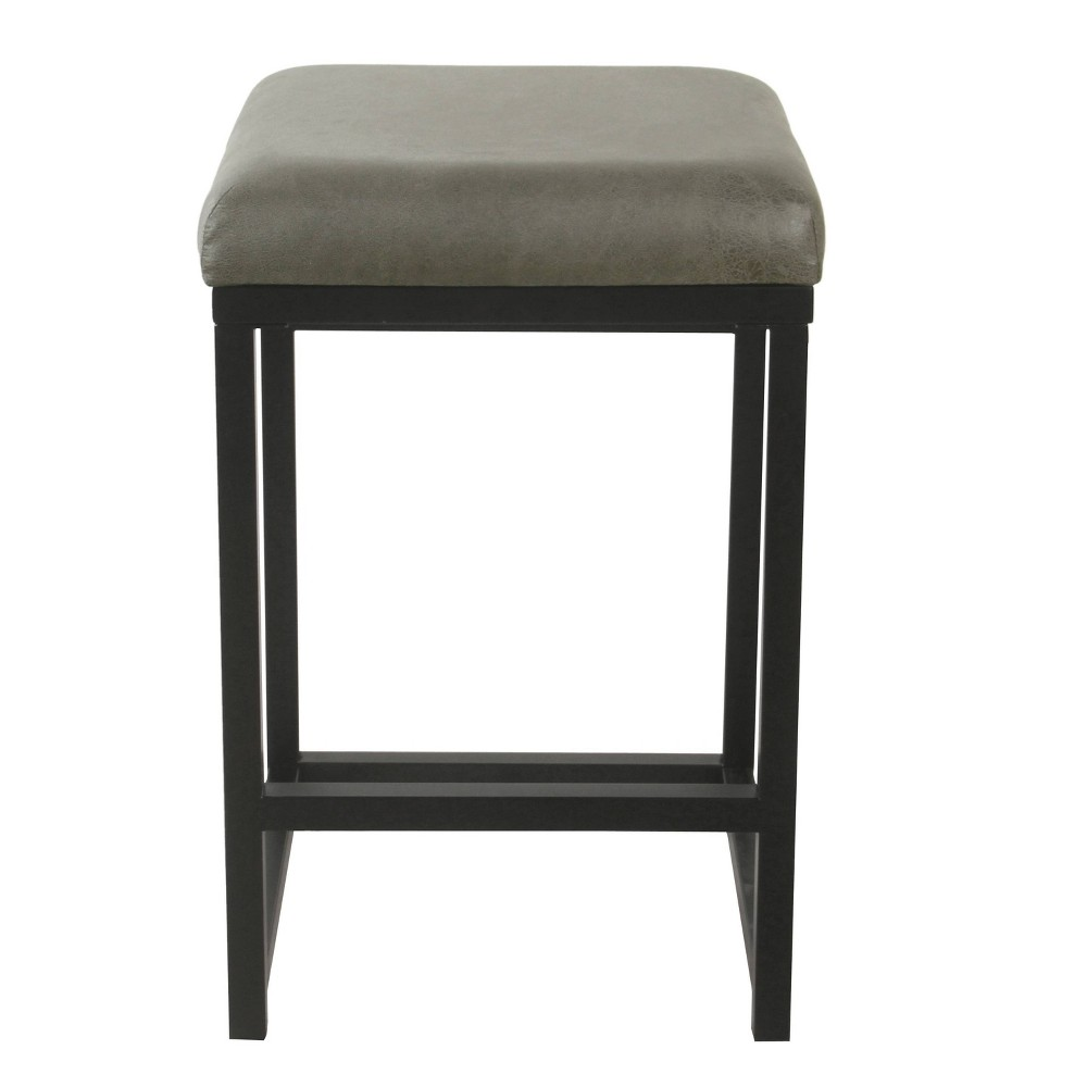Open Back Metal Counter Stool Faux Leather Gray - HomePop was $99.99 now $74.99 (25.0% off)