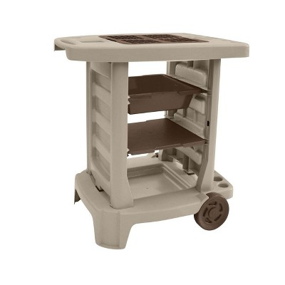 Suncast GC1500BT Portable Outdoor Resin Garden Center Station Utility Tool Cart on Wheels for Gardening Accessories and Equipment, Taupe