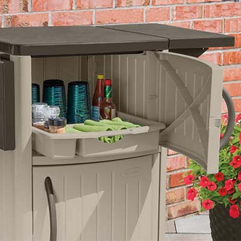 New Suncast Portable Outdoor Patio Prep Serving Station Table Cabinet 2 Pack