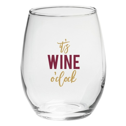 18a6f598554 4ct Kate Aspen It's Wine O' Clock 15oz. Stemless Wine Glass